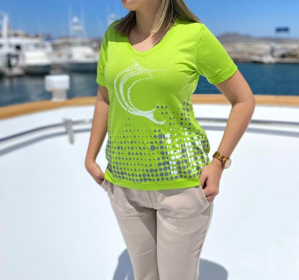 LIME GREEN WOMEN'S PERFORMANCE LONG SLEEVE V-NECK