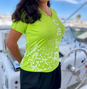 CABO LIME GREEN WOMEN'S PERFORMANCE SHORT SLEEVE V-NECK