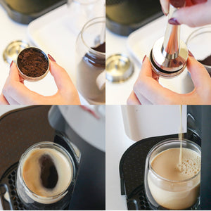 Person Tamping Reusable Coffee Capsules for Nespresso Vertuo® | Happy Capsules™
