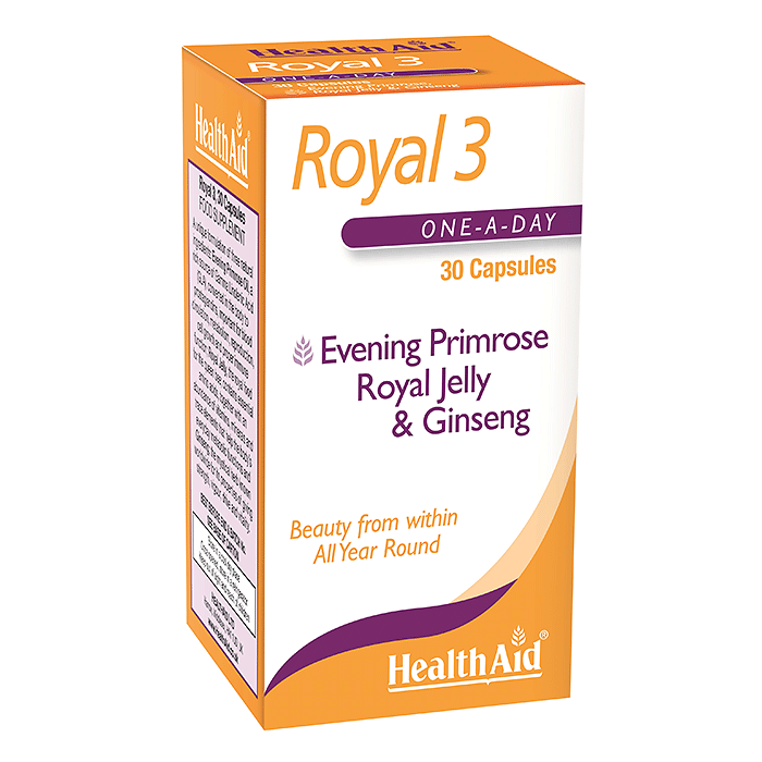 Health Aid Royal 3: Evening Primrose, Royal Jelly & Ginseng - 30 Capsules