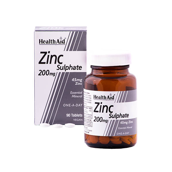 Health Aid Zinc Sulphate 200mg - 90 tablets