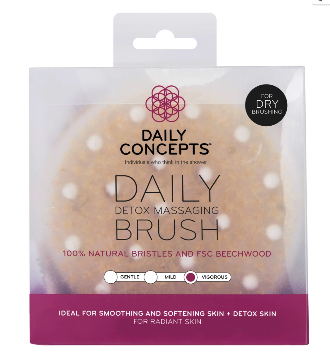 daily concepts, dry brush, massage brush, massaging brush, clean beauty, bare essentials