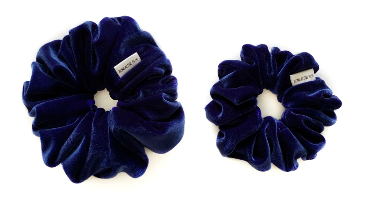 Bungalow Blue Large Scrunchies