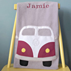 Personalised fleece baby blanket in grey with  applique vw camper van design.