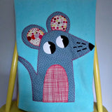 Personalized Fleece aqua baby blanket with applique mouse design.