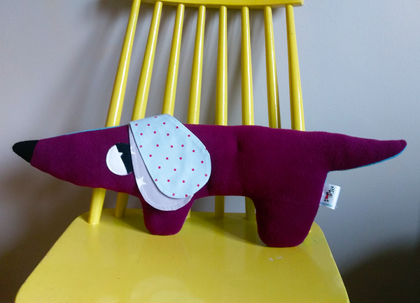 Two tone Dachshund Cushion in Turquoise & Aubergine