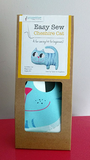 EasySew Cheshire cat kit contains printed  cotton, toy stuffing and instructions, all packed in a recyclable cardboard carton.