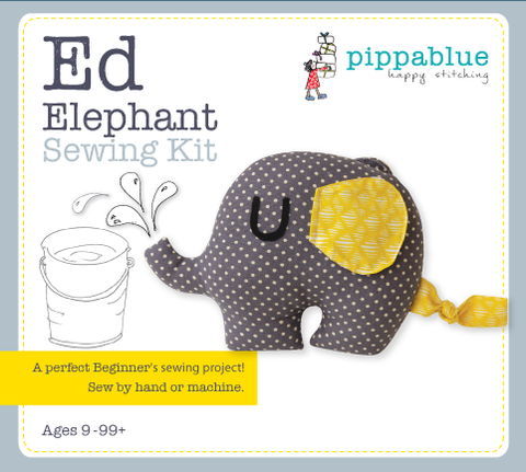 Ed Elephant Sewing Kit -  A fun sewing kit for beginner sewers featuring a grey elephant with yellow ears and tail.