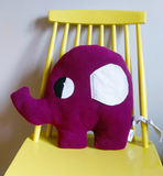 Purple Elephant shaped cushion in fleece with floppy cotton ears and cotton tail.