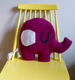 Elephant shaped cushion in fleece with floppy cotton ears and cotton tail.