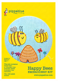 Our Happy Bees embroidery kit includes our exclusive Pippablue printed fabric, embroidery threads, needle, wooden embroidery hoop and instructions. When you have finished your picture you can use your hoop as a frame!