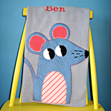 Personalized Fleece grey baby blanket with applique mouse design.
