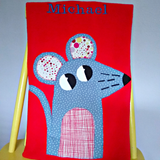 Personalized Fleece red baby blanket with applique mouse design.
