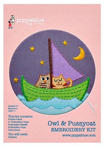 Our Owl and Pussycat embroidery kit includes our exclusive Pippablue printed fabric, embroidery threads, needle, wooden embroidery hoop and instructions. When you have finished your picture you can use your hoop as a frame!