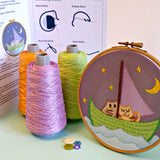 Owl and Pussycat Embroidery Kit -  Our Owl and Pussycat embroidery kit includes our exclusive Pippablue printed fabric, embroidery threads, needle, wooden embroidery hoop and instructions. When you have finished your picture you can use your hoop as a frame!