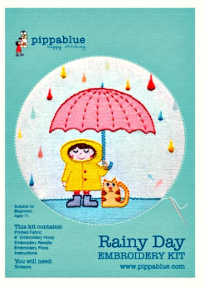 Our  Rainy Day Embroidery kit includes our exclusive Pippablue printed fabric, embroidery threads, needle, wooden embroidery hoop and instructions. When you have finished your picture you can use your hoop as a frame!