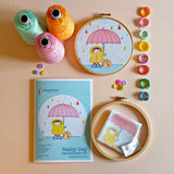 Rainy Day Embroidery Kit - Our  Rainy Day Embroidery kit includes our exclusive Pippablue printed fabric, embroidery threads, needle, wooden embroidery hoop and instructions. When you have finished your picture you can use your hoop as a frame!