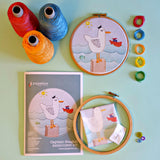 Captain Seagull Embroidery Kit - Our Captain Seagull embroidery kit includes our exclusive Pippablue printed fabric, embroidery threads, needle, wooden embroidery hoop and instructions. When you have finished your picture you can use your hoop as a frame!