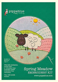 Our Spring Meadow Embroidery kit includes our exclusive Pippablue printed sheep fabric, embroidery threads, needle, wooden embroidery hoop and instructions.
