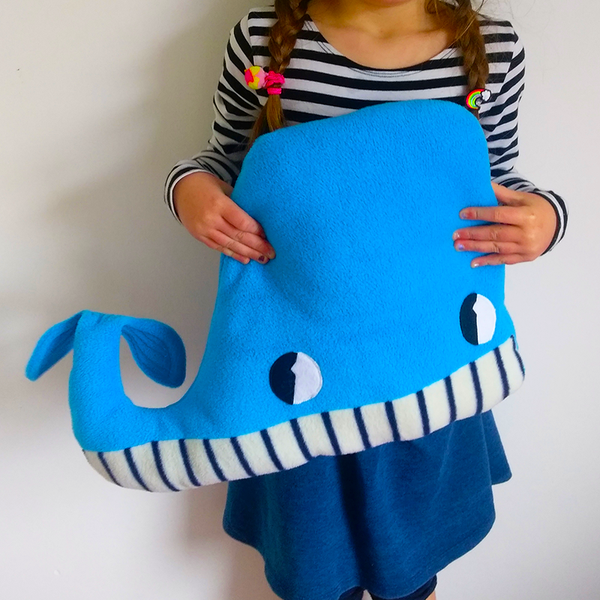 Big Blue Whale fleece cushion handmade by Pippablue in Galway, Ireland
