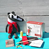 Mr. Brook the badger Sewing Kit - finished toy in tweed