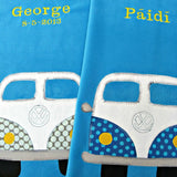 Personalised fleece baby blanket in turquoise blue with  applique vw camper van design.
