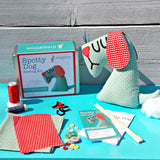 Spotty Dog Sewing Kit - Spotty blue dog with red cotton ears
