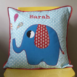 Personalised cotton Cushion  with blue Elephant  applique design
