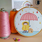 Rainy Day Embroidery Kit -Our  Rainy Day Embroidery kit includes our exclusive Pippablue printed fabric, embroidery threads, needle, wooden embroidery hoop and instructions. When you have finished your picture you can use your hoop as a frame!