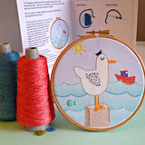 Captain Seagull Embroidery Kit -Our Captain Seagull embroidery kit includes our exclusive Pippablue printed fabric, embroidery threads, needle, wooden embroidery hoop and instructions. When you have finished your picture you can use your hoop as a frame!