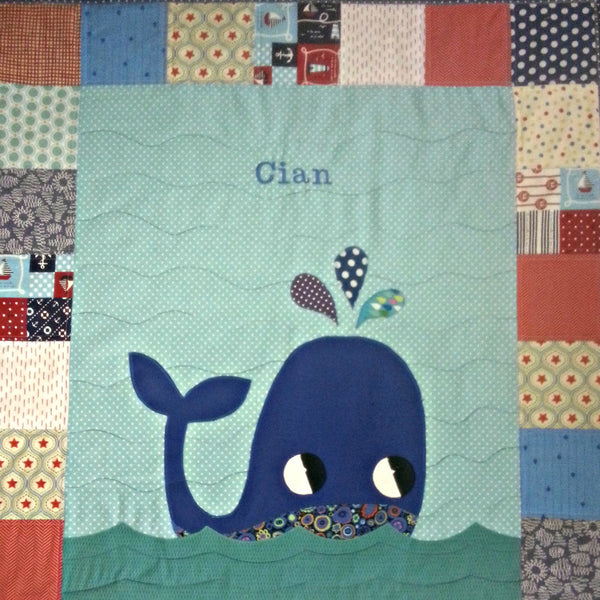 Personalised Cotton Quilt - Whale -