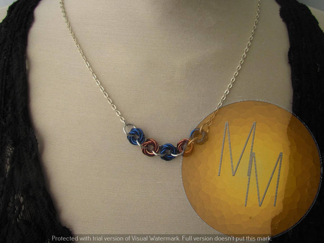 Chainmail Rosette Necklace Blue & Bronze
