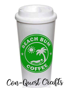 Beach Bum Coffee Permanent Decal - DECAL ONLY