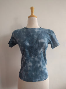 tie dyed upcycled one of a kind screen printed tee, 'oneline bust' — small