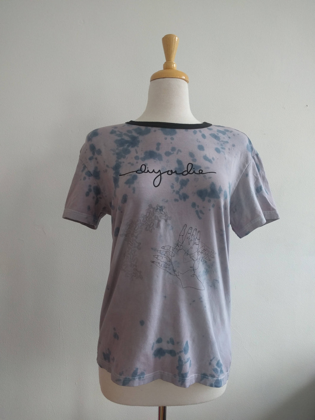 tie dyed upcycled screen printed one of a kind ringer tee— medium