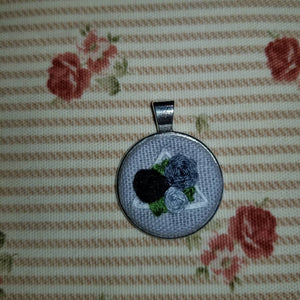 Floral rose hand embroidered geometric art necklace