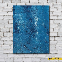 Load image into Gallery viewer, Blue and White Acrylic Original Art Decor Texture by Rina Kaz (Depths of the Ocean Floor ) Painting