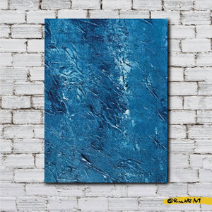 Blue and White Acrylic Original Art Decor Texture by Rina Kaz (Depths of the Ocean Floor ) Painting
