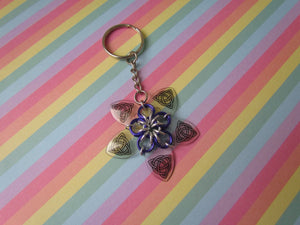 Scalemail Flower Keychain (Transparent Celtic Knot/Purple)