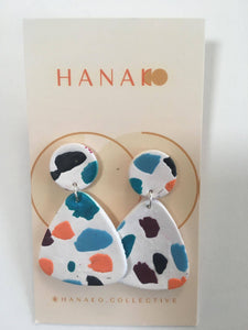 Terrazzo Inspired, Blue, Orange, Red and Black Polymer Clay Earrings