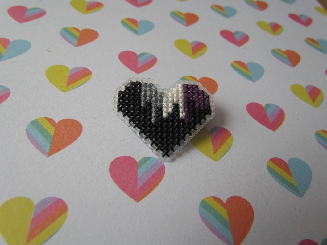 Cross Stitched Pride Flag Pins - ASEXUAL DRIPPY HEART