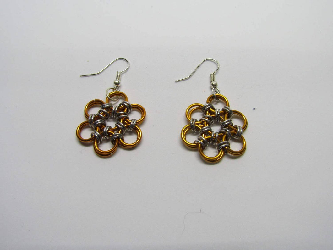 CLEARANCE - Chainmail Daisy Earrings - Orange