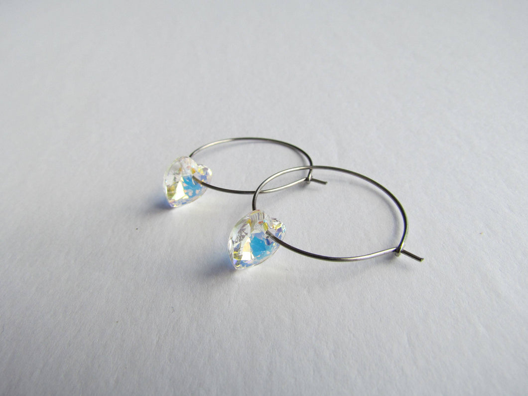 Stainless Steel Hoops (Aurora Swarovski Hearts)
