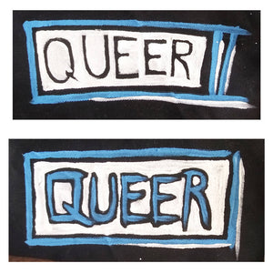 Painted Patch - QUEER (Blue/White)