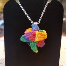 Load image into Gallery viewer, Rainbow LGBTQ pride necklace with succulents