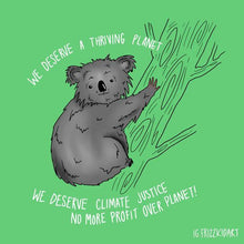 Load image into Gallery viewer, Koala Climate Justice Art Print
