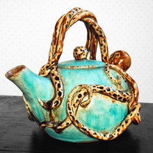 Load image into Gallery viewer, Ceramic Teapot - Turquoise Glaze - Handmade - Wheel thrown - Octopus Design - Steampunk Octopot - 36 oz