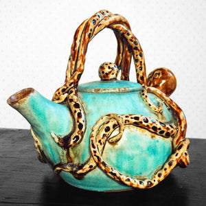 Ceramic Teapot - Turquoise Glaze - Handmade - Wheel thrown - Octopus Design - Steampunk Octopot - 36 oz