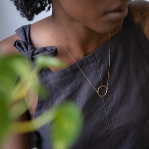 Circular Polished Necklace in Recycled Rose Gold