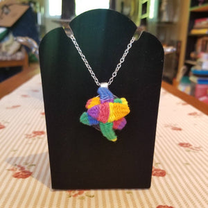 Rainbow LGBTQ pride necklace with succulents